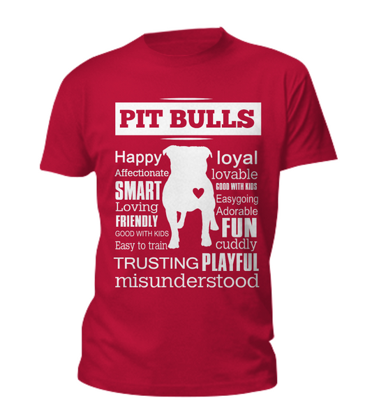 Pit Bull word shirt - Dogs Make Me Happy - 4