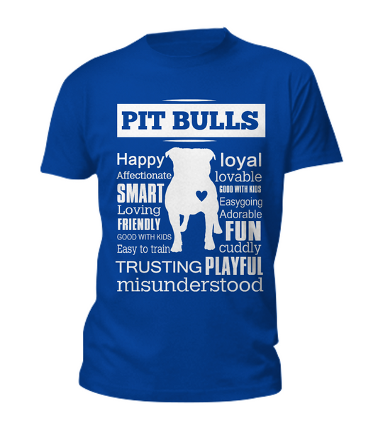 Pit Bull word shirt - Dogs Make Me Happy - 2