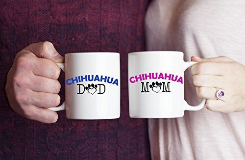 Chihuahua Mugs - Chihuahua Mom And Dad Couple - Chihuahua Gift - Chihuahua Coffee Mugs - Dogs Make Me Happy
