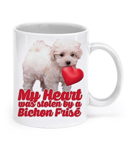 Bichon Frise Mug - Bichon Frise Gifts - My Heart Was Stolen By A Bichon Frise - Bichon Coffee Mug - Dogs Make Me Happy