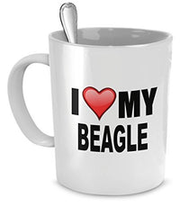 Beagle Mug - I Love My Beagle - Beagle Lover Gifts- Dog Lover Gifts - 11 Oz Ceramic Coffee Mug - Dogs Make Me Happy