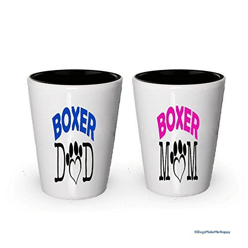 Boxer Dad and Mom Shot Glasses - Gifts for Boxer Couple