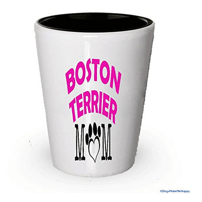 Boston Terrier Dad and Mom Shot Glass - Gifts for Boston Terrier Couple