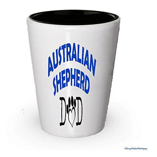 Australian Shepherd Dad and Mom Shot Glass - Gifts for Australian Shepherd Couple