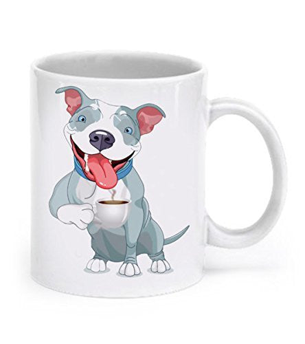 Pit Bull Mug - Pit Bull Drinking Coffee - Pit Bull Gift - Dogs Make Me Happy