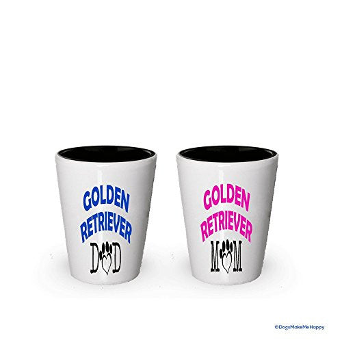 Golden Retriever Dad and Mom Shot Glass - Gifts for Golden Retriever Couple