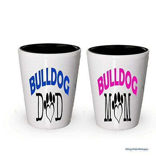 Bulldog Dad and Mom Shot Glass - Gifts for Bulldog Couple
