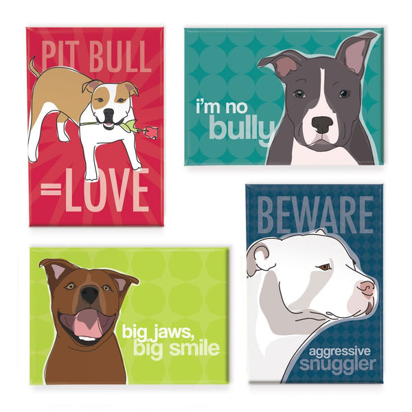 4 Pit Bull Magnets - Dogs Make Me Happy