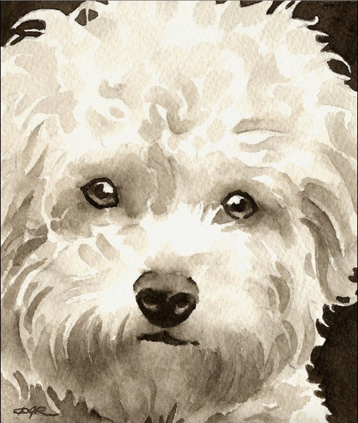 Watercolor painting - Bichon Frise - Dogs Make Me Happy