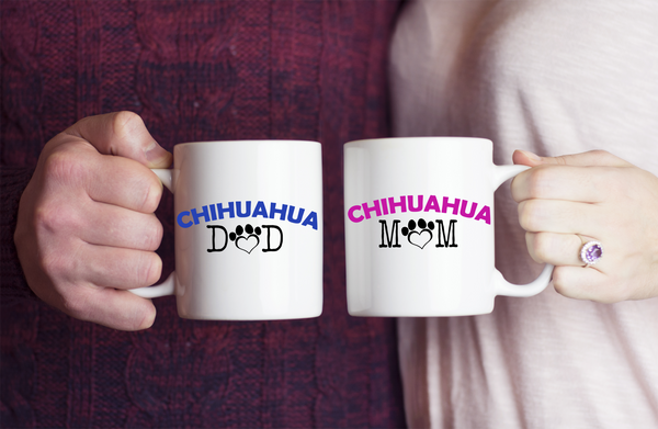 Chihuahua Mom And Dad Couple Mug Set (2 mugs) - Dogs Make Me Happy - 1