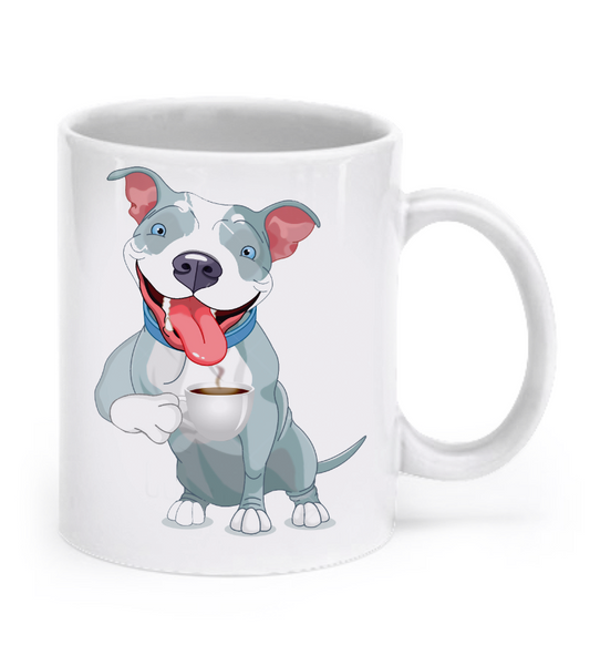 Pit Bull drinking coffee mug - Dogs Make Me Happy