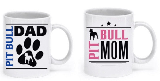 Pit Bull Couple Mug Set (2 mugs) - Dogs Make Me Happy - 1