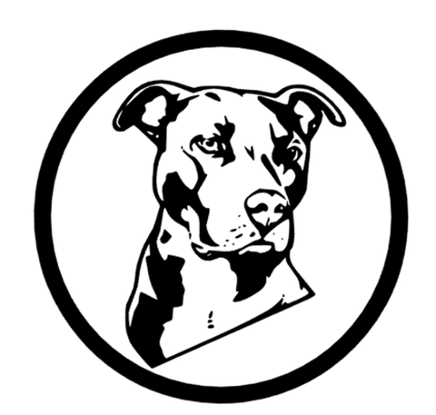 Pit Bull in circle sticker - Dogs Make Me Happy