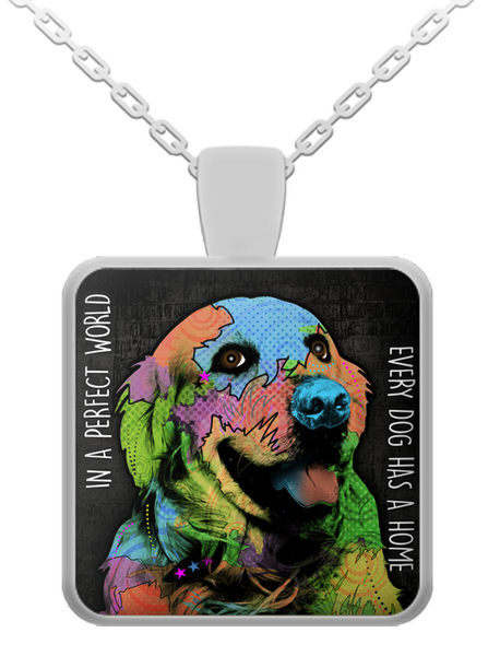 Golden Retriever perfect world necklace - dog necklace - dog necklaces - dog stuff - Dogs Make Me Happy - 1