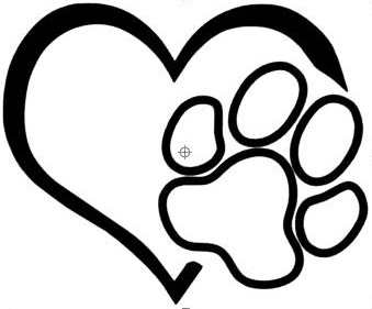 Heart and paw sticker - Dogs Make Me Happy