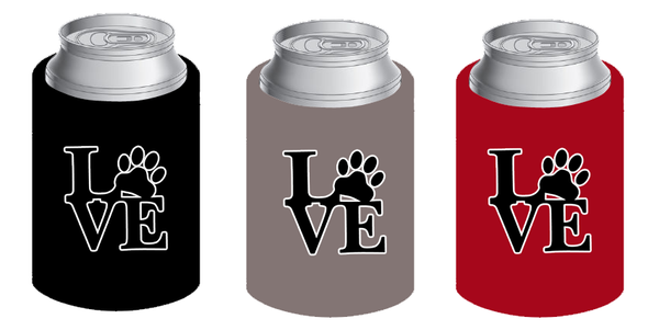 LOVE koozie in black (set of 2) - Dogs Make Me Happy