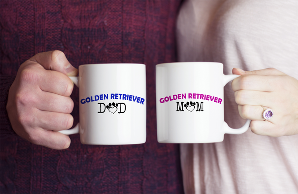 Golden Retriever Couple Mug Set (2 mugs) - Dogs Make Me Happy