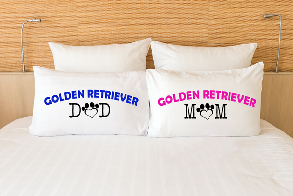 Golden retriever mom and dad pillow cases