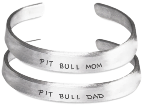 Pit Bull Mom And Dad Bracelet Set - Dogs Make Me Happy - 1