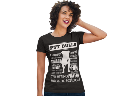 Pit Bull word shirt - Dogs Make Me Happy - 1