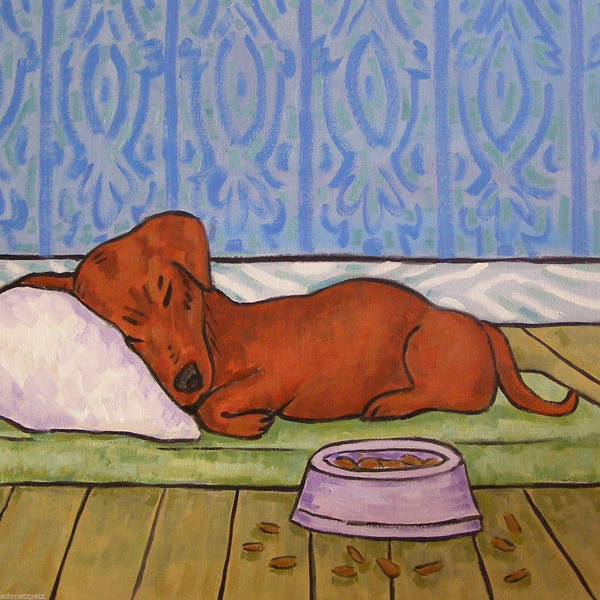 Sleeping dachshund coaster - Dogs Make Me Happy