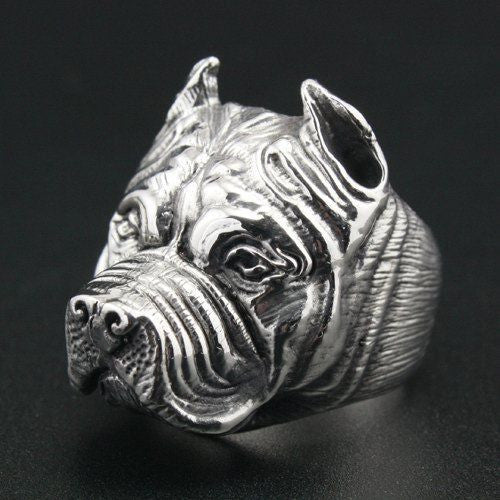 Stainless steel Pit Bull ring - Dogs Make Me Happy - 1