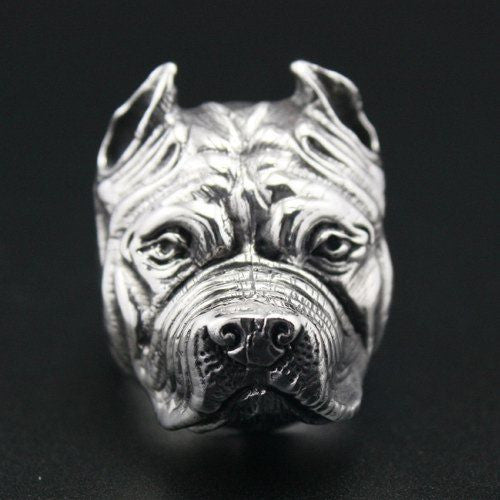 Stainless steel Pit Bull ring - Dogs Make Me Happy - 4