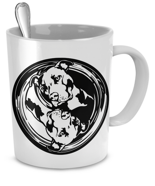 Yin Yang Pit Bull Mug - Dogs Make Me Happy - 2