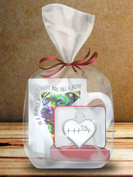 Pit Bull Mug And Heartbeat Necklace Bundle
