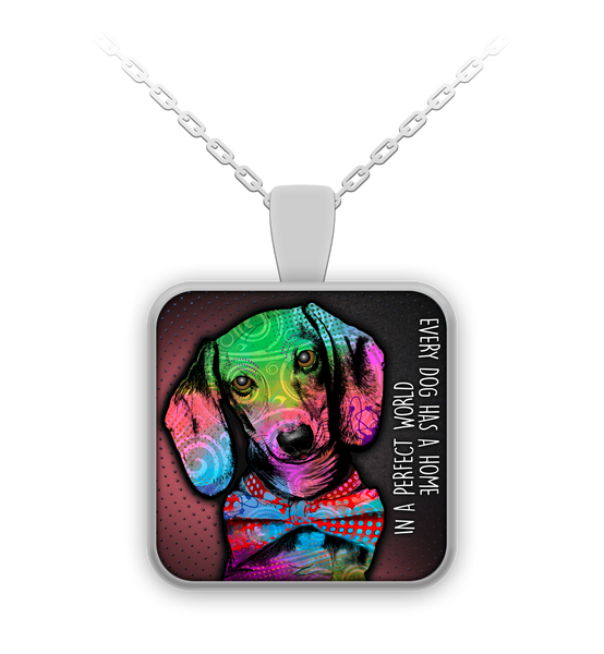 Dachshund perfect world necklace - dog necklace - dog necklaces - dog stuff - Dogs Make Me Happy