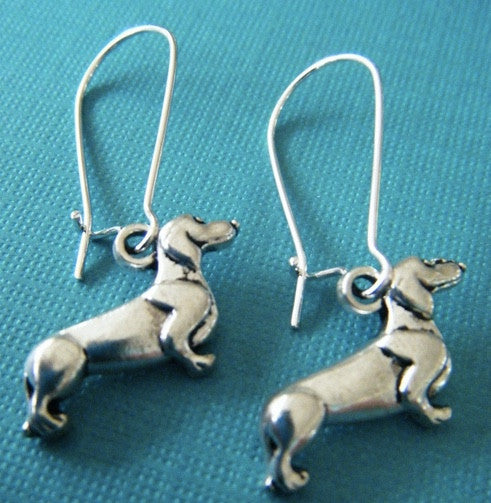 Dachshund dangle earrings - Dogs Make Me Happy