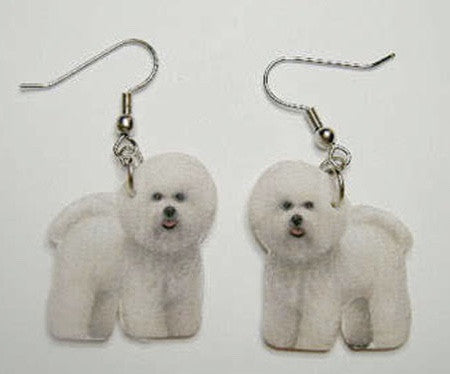 Bichon earrings - Dogs Make Me Happy