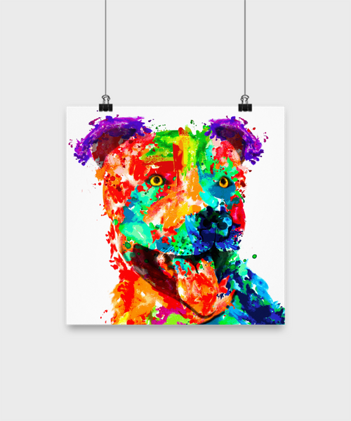 Colorful pit bull poster - Dogs Make Me Happy - 1