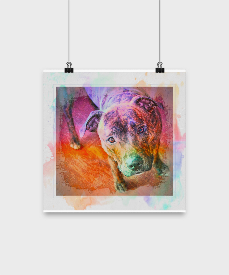 Colorful Beautiful Pit Bull Poster - Splash Background - Dogs Make Me Happy - 4