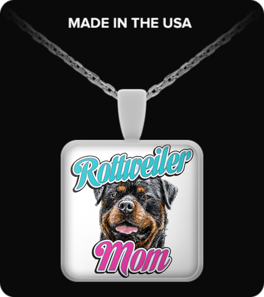 Rottweiler Mom - dog necklace - dog necklaces - dog stuff - Dogs Make Me Happy