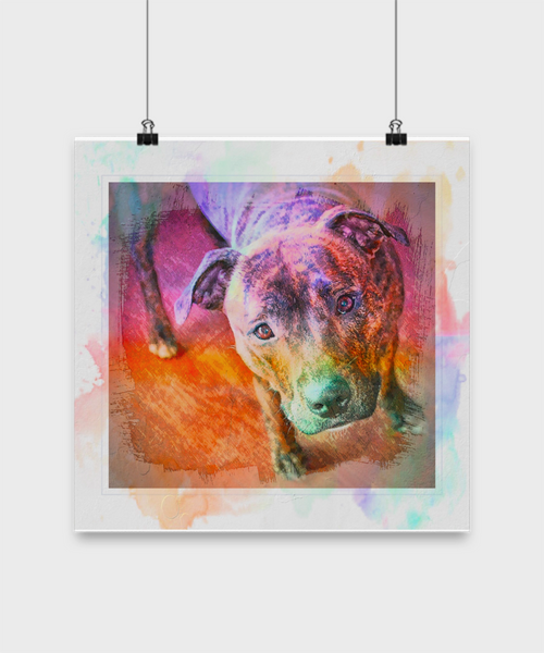 Colorful Beautiful Pit Bull Poster - Splash Background - Dogs Make Me Happy - 2