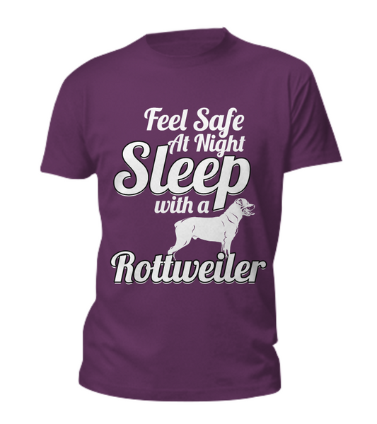 Feel Safe At Night - Rottweiler Tee - Dogs Make Me Happy - 3