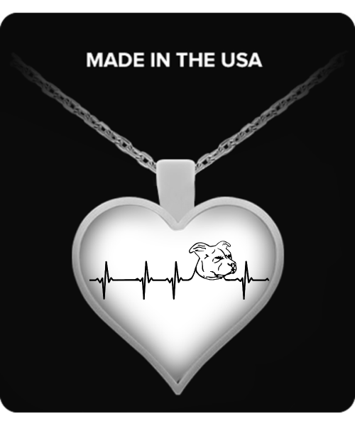 My heart beats for Pit Bulls - floppy ears - pit bull necklace - dog necklace - dog necklaces - dog stuff - Dogs Make Me Happy