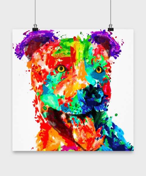 Colorful pit bull poster - Dogs Make Me Happy - 2