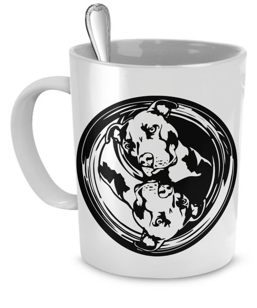 Yin Yang Pit Bull Mug - Dogs Make Me Happy - 1