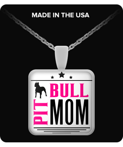 Pit Bull Mom - pit bull necklace - dog necklace - dog necklaces - dog stuff - Dogs Make Me Happy