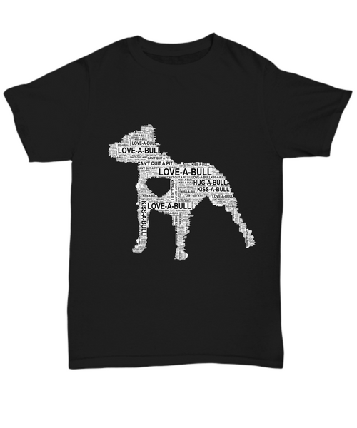 Pit bull love word art shirt