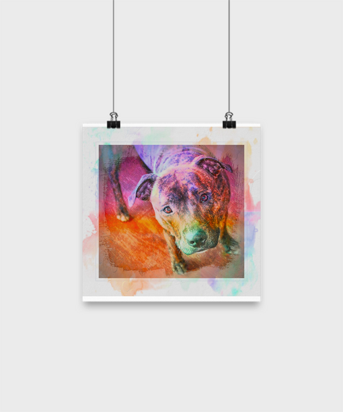 Colorful Beautiful Pit Bull Poster - Splash Background - Dogs Make Me Happy - 3