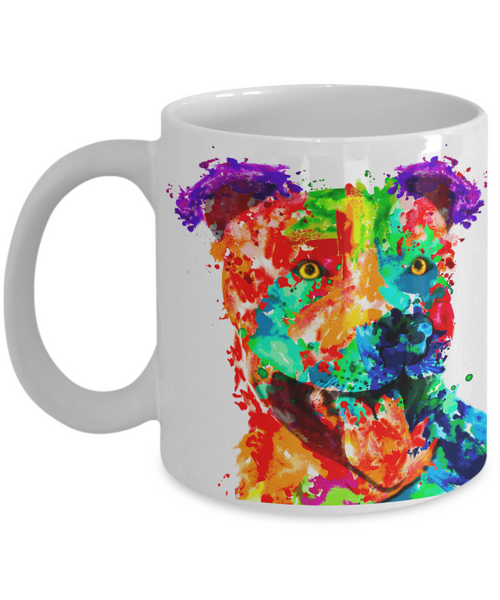 Colorful and vibrant pit bull mug - Dog Stuff - Dogs Make Me Happy