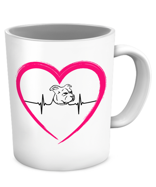 My heart beats for Pit Bulls - heart mug - Dogs Make Me Happy