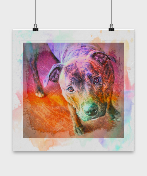 Colorful Beautiful Pit Bull Poster - Splash Background - Dogs Make Me Happy - 1
