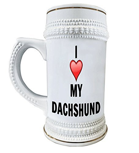 I Love My Dachshunds 22 oz. Ceramic Beer Stain Glass Mugs