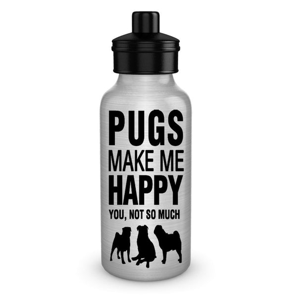 Pugs make me happy dog lover water bottles