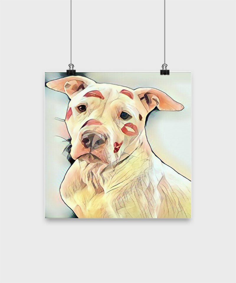 Colorful Pit Bull Poster -Kiss On Pit Bull Poster