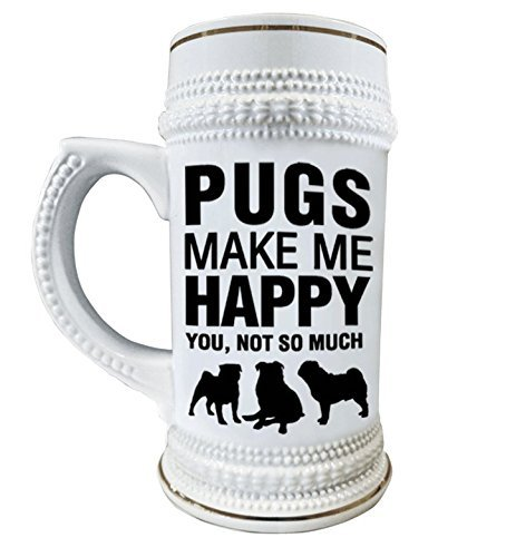 Pugs Make Me Happy 22 oz. Ceramic Beer Stain Glass Mug with Decorative Gold Trim